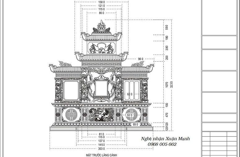 Bản vẽ Khu lăng mộ đá, lên thiết kế cho khu lăng gia đình hoàn chỉnh